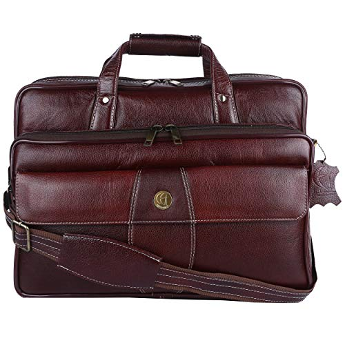 Genuine Leather laptop bags for men & women (15.5 inch,Deep Brown)