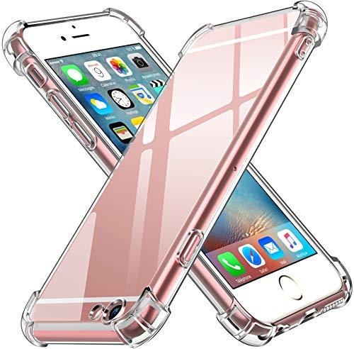 ivoler Funda Compatible con iPhone 6s Plus y iPhone 6 Plus, Carcasa Protectora Antigolpes Transparente con Cojín Esquina Parachoques, Flexible Suave TPU Silicona Caso Delgada Anti-Choques Case Cover