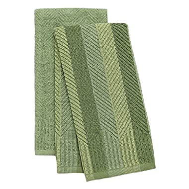 Food Network™ 2 Pack Sculpted Antimicrobial Kitchen Towels (Green)