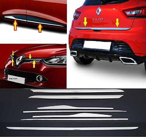 mne parts Compatible con Renault Clio IV 2012-2018 7 piezas tiras cromadas y accesorios y cubiertas en acero inoxidable
