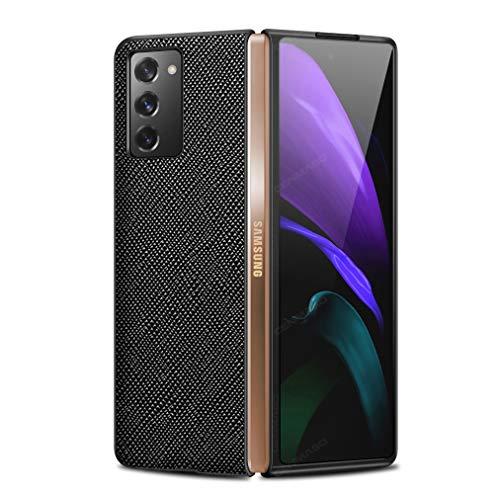 Wuzixi Hülle für Samsung Galaxy Z Fold 2 5G, Faltbare Echtleder Rindslederhülle Stoßfest, Hülle für Samsung Galaxy Z Fold2 5G.Schwarz
