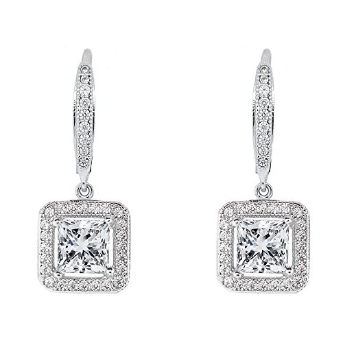 Cate & Chloe Ivy Faithful 18k White Gold Plated Princess Cut Drop Earrings with Cubic Zirconia Crytals, Women's Gold Plated Earrings, Silver Dangle Earrings for Women, Wedding Anniversary Jewelry