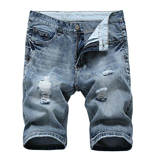 Allthemen Pantalones cortos de mezclilla para hombre de verano casual agujero rasgado desgastado desgastado pantalones cortos pantalones de media