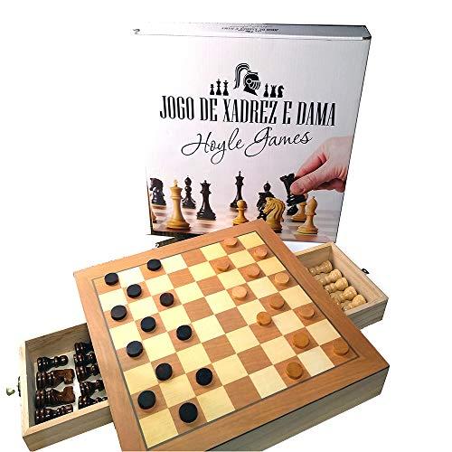 Jogo de xadrez e dama tabuleiro oficial em madeira com gaveta 39 X 39 X 5 cm