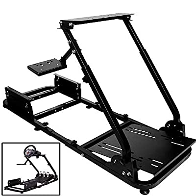 Minneer Racing Wheel Stand Racing Simulator Steering Wheel Stand Compatible for T500, FANTEC, T3PA/TGT, G25, G37, G29/T300RS Without Wheel?Pedals and seat.