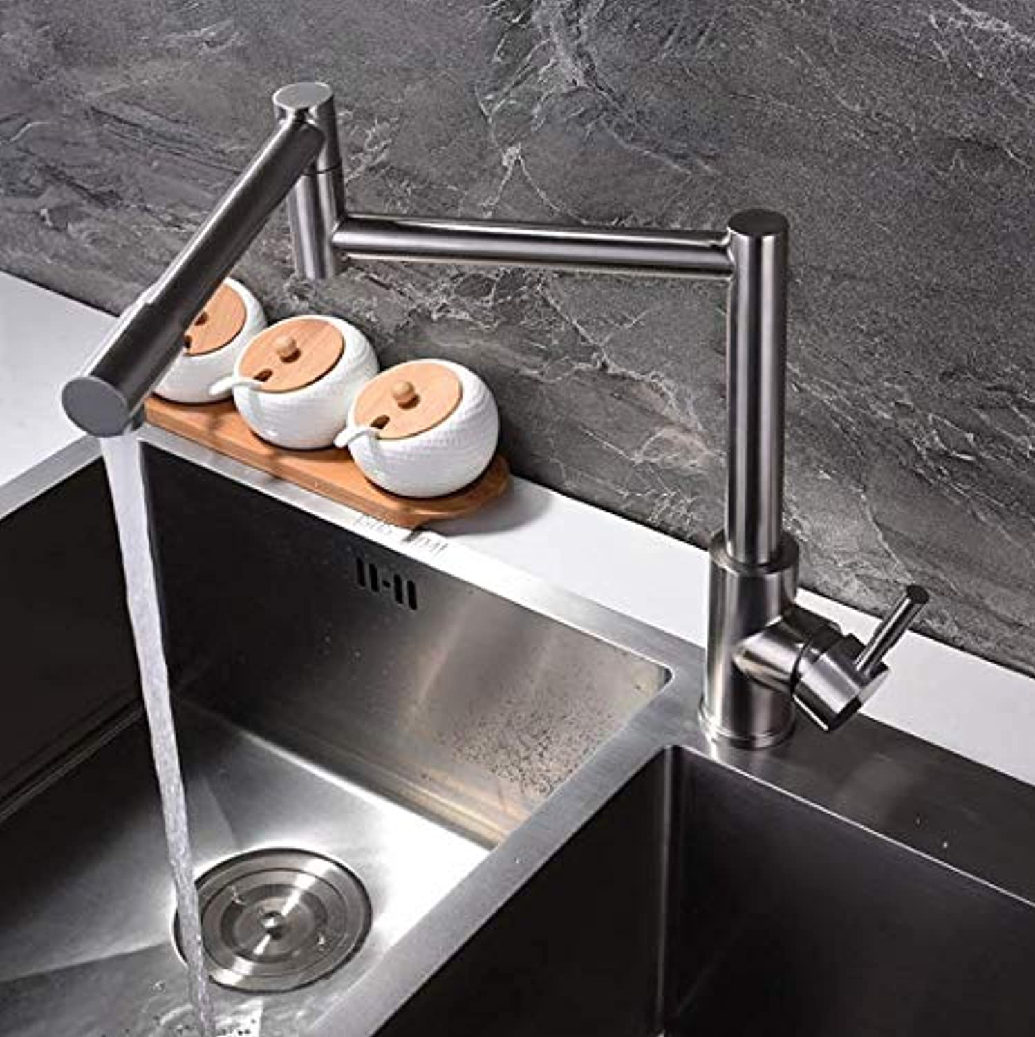 Stainless Steel Brushed hot and Cold Faucet Stainless Steel Kitchen Faucet Universal redating Fashion Style