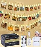 LED Lichterkette Fotoclips Lichterketten - Alilimall 20 Foto Clips 3M Länge Warmweiß Dekoration Foto Lichterkette mit USB Port Ladung und Batteriebetrieben für Romantische Dekoration