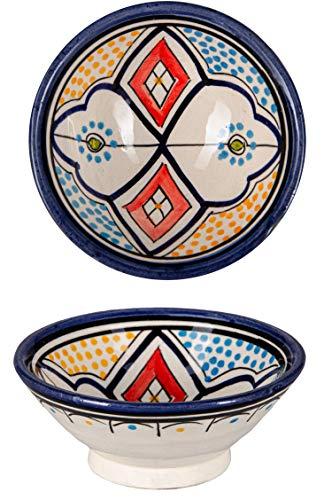 Oosterse keramische schaal keramiek bord rond Dawud Ø 13 cm groot   gekleurde Marokkaanse keramische schaal bord bont uit Marokko   Orient grote keramische schaal plat servies oosters met de hand geschilderd