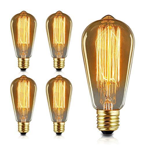 エジソン電球 60W 110V ST64電球調光可能 E26/ E27口金 ヴィンテージエジソンランプ タングステンフィラメント電球クリア アンティーク風 調光器対応 ホーム照明 装飾用器具 (4個)