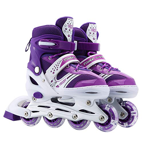 Szulight Kids Adjustable Inline Skates, Perfect First Roller Blades for Girls and Boys with All Illuminating Wheels, Youth Children's Indoor&Outdoor Ice Skating Equipment. (Purple, Small-Little Kids)