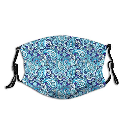 Moda 3D Face Protect impreso, diseño tradicional de patrón asiático con flores hojas y puntos de arte con fondo azul