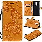 nancencen Handyhülle Kompatibel mit LG K40 / K12,Geldbörse PU Leder Flip Cover Schutzhülle Hülle Klapphalterungsfunktion -Einfarbig Schmetterling Gelb