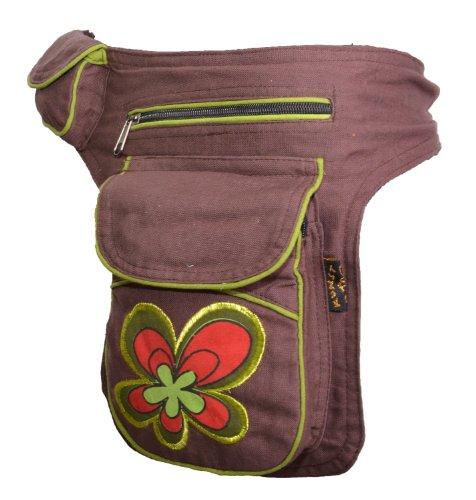 KUNST UND MAGIE Goa Schulter/Bauchtasche Gürteltasche Bauchgurt Hippie Psy Flower, Farbe:Schokobraun