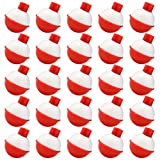 Bskifnn 50 PCS Round Fishing Bobbers 1 Inch Float Bobbers Push Button - Red and White ABS Material