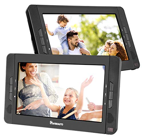 Best Price! NAVISKAUTO Portable DVD Player for Car with 10.1 Dual Screen, 5-Hour Rechargeable Batte...