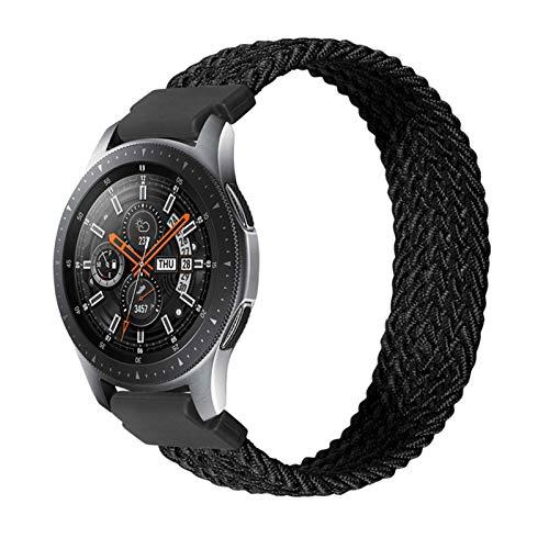 YGGFA Correa de nailon trenzado solo de 20 mm y 22 mm para Galaxy Watch 3 41 mm 45 mm pulsera elástica para Gear S3 Classic para Amazfit Gts/GTR (color: negro, tamaño: 22 mm-S tamaño 125 mm)