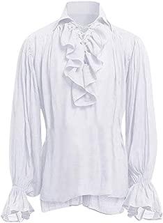 Men's Cosplay Shirt Tops Steampunk Gothic Lace Ruffle Blouse Renaissance Victorian Shirts