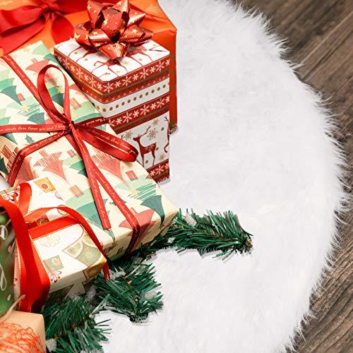 Bigzzia Weiße Kunstpelz Weihnachtsbaum Rock, φ 36 Zoll/90cm Weihnachtsbaum Decke Tannenbaum Unterlage Rund Christbaumdecke Weihnachtsfeier Urlaub Dekorationen Bodendekoration