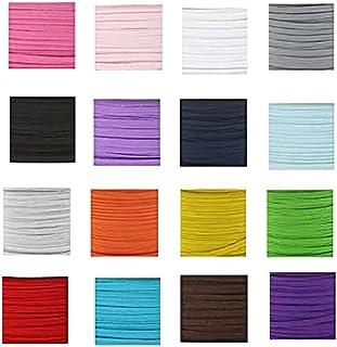 MEIbax 16 Rollos de cinturón elástico (Multicolor), Width 3mm, Cuerda para Manualidades M-a-s-k, DIY Elastic Band, Homemade Cover Rope Elastic Band