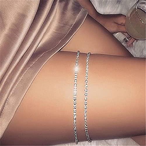 GLJYG Collane per gambe con strass, stile vintage, per cosce, gambe e gambe, colore: argento