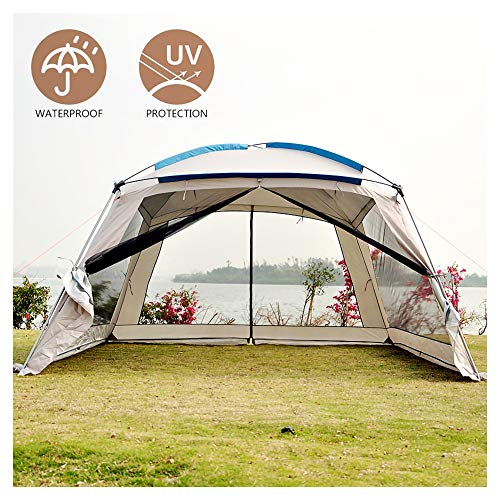 HNHN Pop Up Gazebo, 3.6 x 3.6 x 2.2m Large Event Shelter Party Tent with Mesh Wall Sides and Storage Bag, Waterproof, Uv Protection, for Gardens Camping BBQ