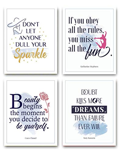 Inspirational Canvas Print Wall Art Motivational Posters Quotes for Women Bedroom, Office, Living Room, Gym (White, Set of 4, 8x10, Unframed) by The Mindful Project