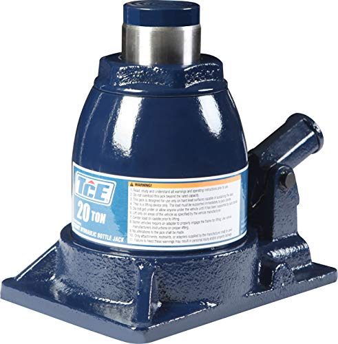 TCE TCE92008 Torin Hydraulic Stubby Low Profile Welded Bottle Jack, 20 Ton (40,000 lb) Capacity, Blue