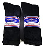 6 Pair Physicians' Choice Sz. 13-15 Black Men's Crew Diabetic Socks Loose Fit Top Made in USA Cotton Blend
