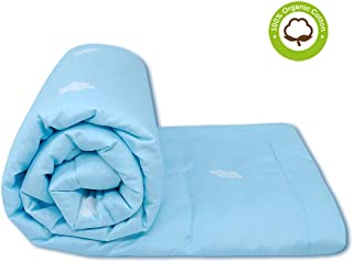 Ultra Soft Organic Cotton Baby Blanket - Breathable Light Weight and Warm Baby Crib Comforter with Cloud Quilted and Printed Pattern for Baby, Toddler Boy or Girl - Blue