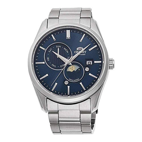 ORIENT 'Sun & Moon' Automatic Blue Dial Sapphire Glass Steel Watch RA-AK0303L