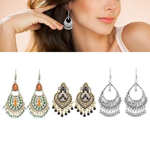 3 pares de pendientes colgantes bohemios, pendientes vintage para, pendientes con borla, accesorios de joyería para mujeres y niñas