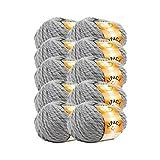 TRICOT CAFE' Oferta de ovillos de lana alpaca 56, 10 unidades, 70 % lana biológica 30 % alpaca/gris 7