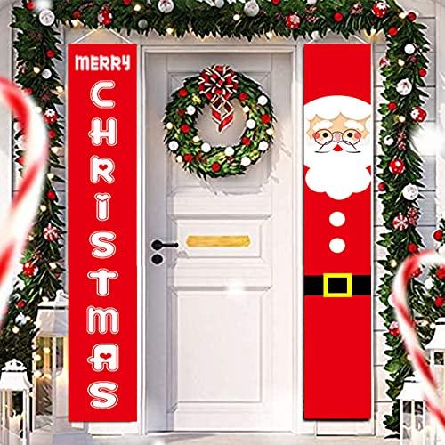 Bseical 2piezas Adornos Navidad Banner Decoracion para Puertas Porche Signo Bienvenida Feliz Navidad Colgante Signo Feliz Estandarte De Nuevo Año Copo De Nieve Navidad Ventana Decoración Fiesta (A)