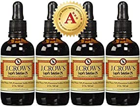 J.CROW'S® Lugol's Solution of Iodine 2% 2 oz Four Pack (4 Bottles)