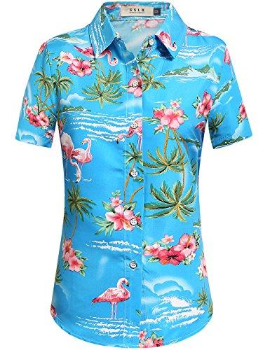 SSLR Womens Flamingo Shirt Casual Short Sleeve Hawaiian Shirts for Women (Medium, Blue)
