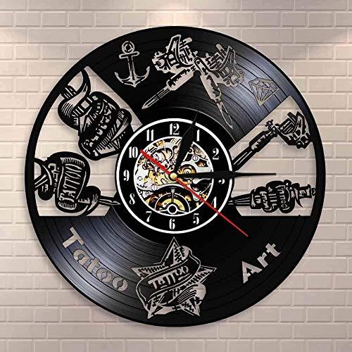XYVXJ Tienda de Tatuajes Reloj de Pared con Discos de Vinilo o Reloj de Pared con Tatuajes, Regalos Elegantes para Hombres