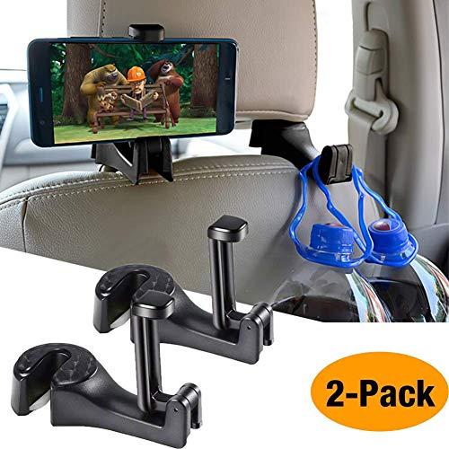 Auto-Kopfstützen-Haken,OCUBE 2 in 1 Auto-Haken Auto-Aufhänger mit Telefon-Halter (2 Stück),Universal-Fahrzeug-Auto-Sitz-Haken-Halter mit Handy-Halterung für Handtasche, Geldbeutel, Kleidung (Schwarz)