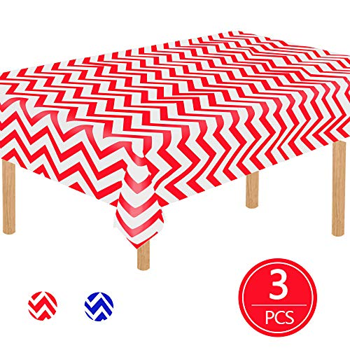 """TONIFUL 3 Pack Red Corrugated Plastic Tablecloth 54""""x108"""" Inch Corrugated Rectangle Table Cover for Picnic Party Holiday Dinner Supplies"""