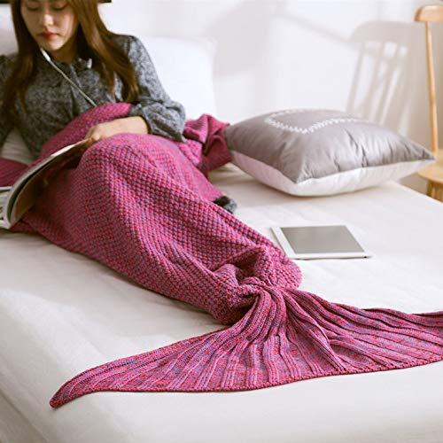 QiKun-Home Zeemeerminstaart Deken Garen Gebreide Handgemaakte Gehaakte Zeemeermin Deken Kids Bed Wrap Superzachte Slapende Deken Mandala paars 500x900mm