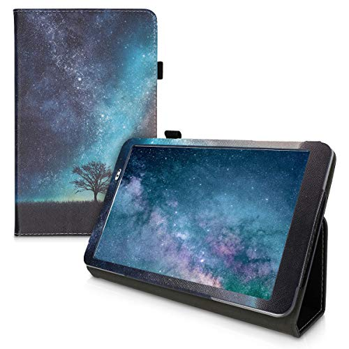 kwmobile Case Compatible with Huawei MediaPad T1 10 - Slim PU Leather Tablet Cover with Stand Feature - Cosmic Nature Blue/Grey/Black