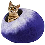 Juccini Handcrafted Felted Wool Cat Cave Bed for Cats and Kittens - Perfect Cat beds for Indoor Cats -Felted from 100% Natural Wool (Purple Petals)
