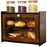 Bamboo Double Layer Bread Box with Clear Front Window, Rustic Farmhouse Kitchen Food Keeper for Counter Top, Large Capacity Bread Storage Bin, Self Assembly