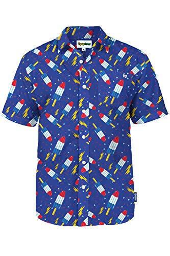 Aloha Shirt for Men with Classic Red White and Blue Popsicles Allover Print Size Large