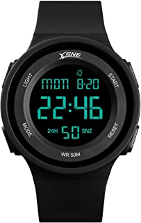 Boys Watch Digital Sports Waterproof Military Back Light Teenager Watch Black