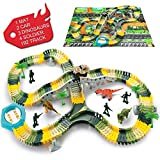 SYOSIN Jurassic World Dinosaur Toys Race Track Toy Car & Flexible Track Playset 192 Pieces for Kids