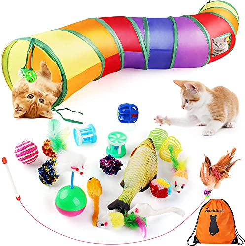 Dorakitten Cat Toys Kitten Toy Tunnel - 20PCS Indoor Interactive Toy Includes - Rainbow Tunnel Feather Teaser Fluffy Mouse Crinkle Balls Spring Toy Catnip Fish for Cats | Kitty