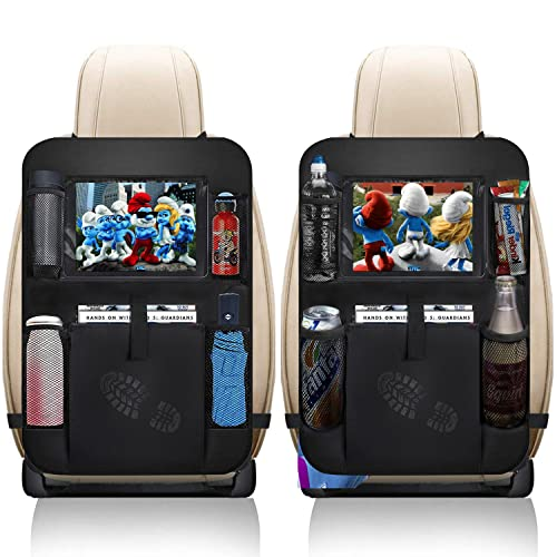 """XBRN Car Backseat Organizer 2 Pack, Car Seat Back Organizers Storage Kick Mat Seat Protector, Car Seat Back Protectors with Clear 10"""" Tablet Holder + 5 Storage Pockets Back seat Organizer for Kids"""