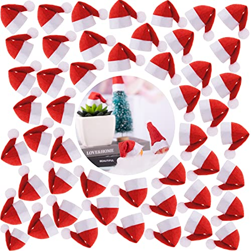 120 Pcs 3.1' x 1.6' Christmas Mini Red Santa Hats, Wine Bottles Cover Christmas Lollipops Cover Cap Santa Hats Bulk Small Santa Hats for Christmas Party Decor, Lollipop Candy Cover, Bottles Cover