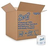 Scott Essential Professional Papel higiénico de fibra 100% reciclado a granel para negocios (13217), rollos estándar de 2 capas, blanco, 80 rollos / caja, 506 hojas / rollo