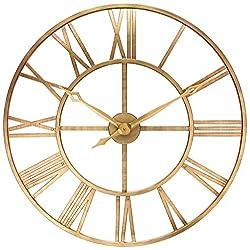 Antique Tower 30 inch Large Roman Numeral Wall Clock Indoor/Outdoor Patio Waterproof Oversized Decorative Contemporary Clock, 30-inch Diameter Roman Numerals (Bronze)
